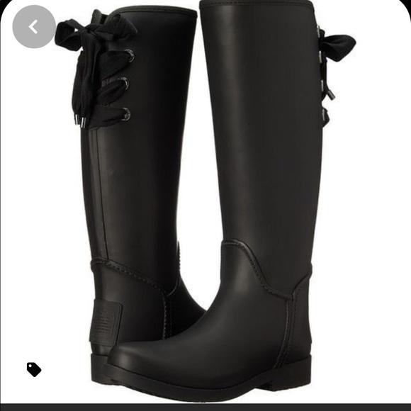Coach rain boots!!! Corset tie! Size 8